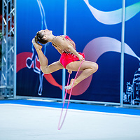 PADUA, ITALY - NOVEMBER 12 2016: Chiara Vignolini of Raffaello Motto performs with rope at the italian national rhythmic gymnastic championship. Her score in the apparatus is 16,000. Her team's score is 96,650 and ended up in fourth position.<br /> #SerieAdiritmica<br /> #ginnasticaritmica #rhythmicgymnastic #gymnast #sport #sportphotography