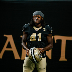 Aug 17, 2018; New Orleans, LA, USA; New Orleans Saints running back Alvin Kamara (41) before a preseason game against the Arizona Cardinals at the Mercedes-Benz Superdome. Mandatory Credit: Derick E. Hingle-USA TODAY Sports
