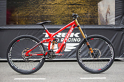 Brook MacDonald's race bike is ready for action in the 2015 UCI Mountainbike World Cup downhill at Lourdes.