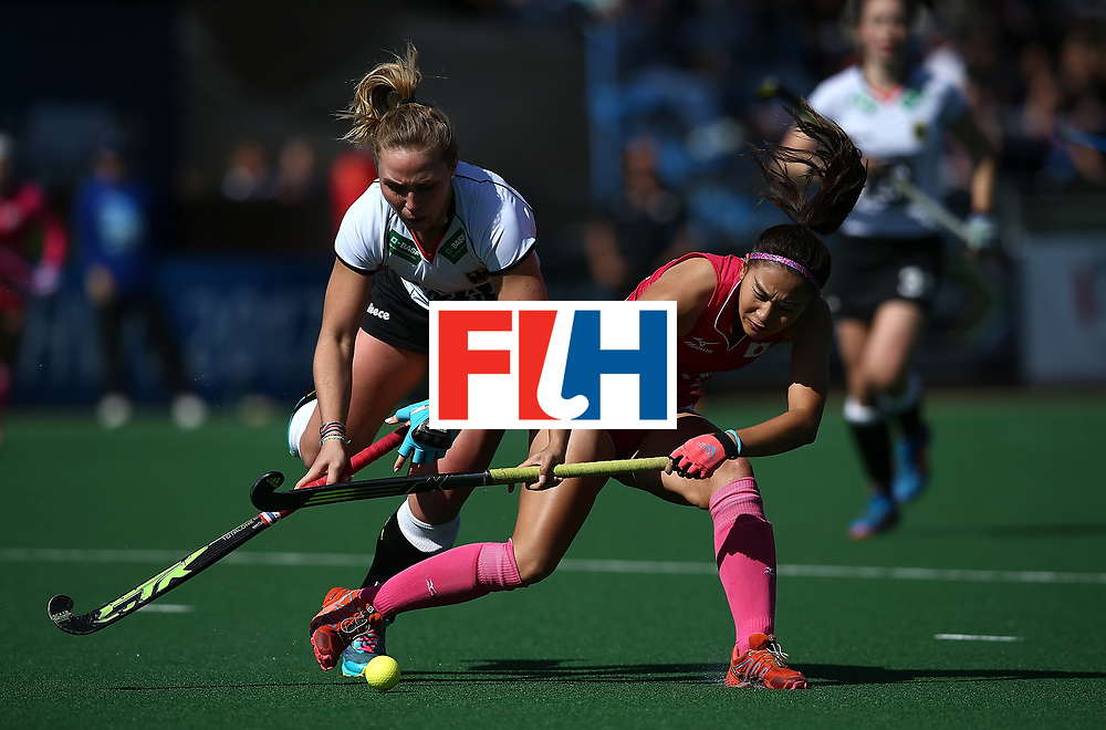 JOHANNESBURG, SOUTH AFRICA - JULY 16:  Maho Segawa of Japan battles with Nike Lorenz of Germany during day 5 of the FIH Hockey World League Women's Semi Finals Pool A match between Japan and Germany at Wits University on July 16, 2017 in Johannesburg, South Africa.  (Photo by Jan Kruger/Getty Images for FIH)