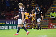 23rd December 2017, Fir Park, Motherwell, Dundee; Scottish Premier League football, Motherwell versus Dundee; Motherwell's Craig Tanner is congratulated after scoring by Motherwell's George Newell