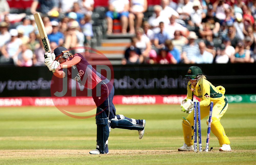 Sarah Taylor of England Women is bowled by Kristen Beams of Australia Women  - Mandatory by-line: Robbie Stephenson/JMP - 09/07/2017 - CRICKET - Bristol County Ground - Bristol, United Kingdom - England v Australia - ICC Women's World Cup match 19