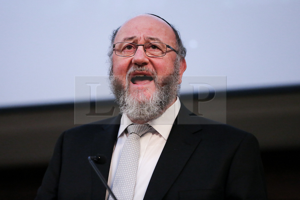 © Licensed to London News Pictures. 26/11/2019. London, UK. FILE PICTURE. CHIEF RABBI EPHRAIM MIRVIS of the United Hebrew Congregations of the Commonwealth speaks at Kindertransport Commemoration in London on 15 November 2018.<br /> <br /> CHIEF RABBI EPHRAIM MIRVIS has criticised anti-Semitism in the Labour Party, including an alleged 130 cases of anti-semitism that have not been dealt with. Labour Party Leader, JEREMY CORBYN launched the Labour Party's  Race and Faith Manifesto at the Bernie Grant Arts Centre in Tottenham, North London.  Photo credit: Dinendra Haria/LNP