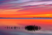 Marsh leading into Lake Winnipeg at sunrise<br /> Hecla Provincial Park<br /> Manitoba<br /> Canada