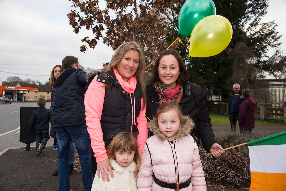 19th March 2016, Gordon Elliott trained Don Cossack homecoming to Summerhill<br /> Brenda Martin, Linda Cooper (2nd Cousin to Bryan Cooper) with Chloe & Kate Heraghty pictured in Summerhill waiting for the homecoming of Don Cossack<br /> Photo: David Mullen /www.cyberimages.net / 2016