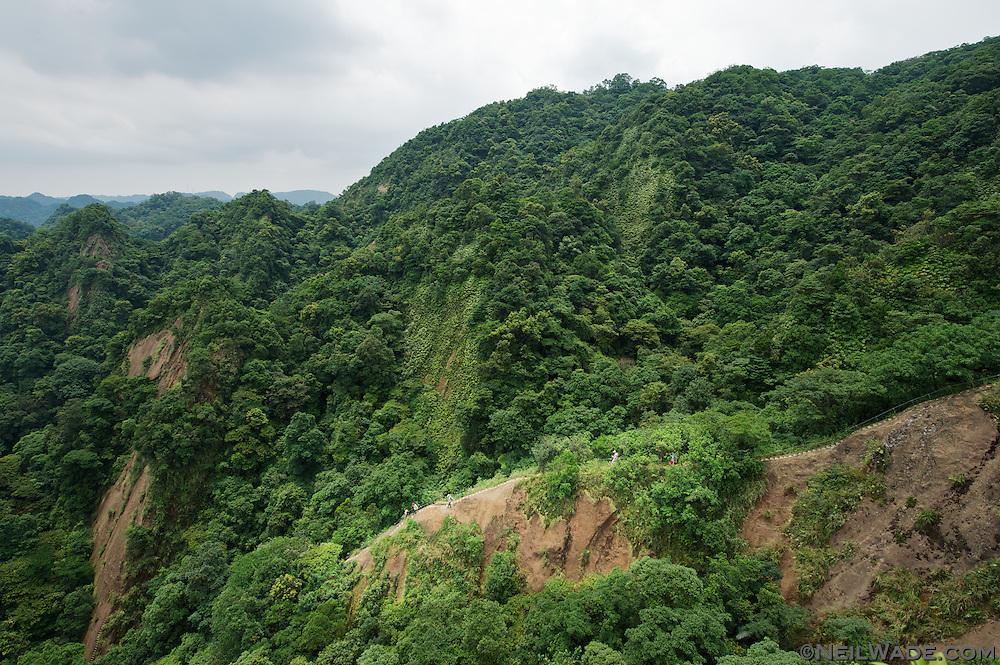 A look down at the rock faced cliffs of Xiaozi Shan (???) near Pingxi, Taiwan.