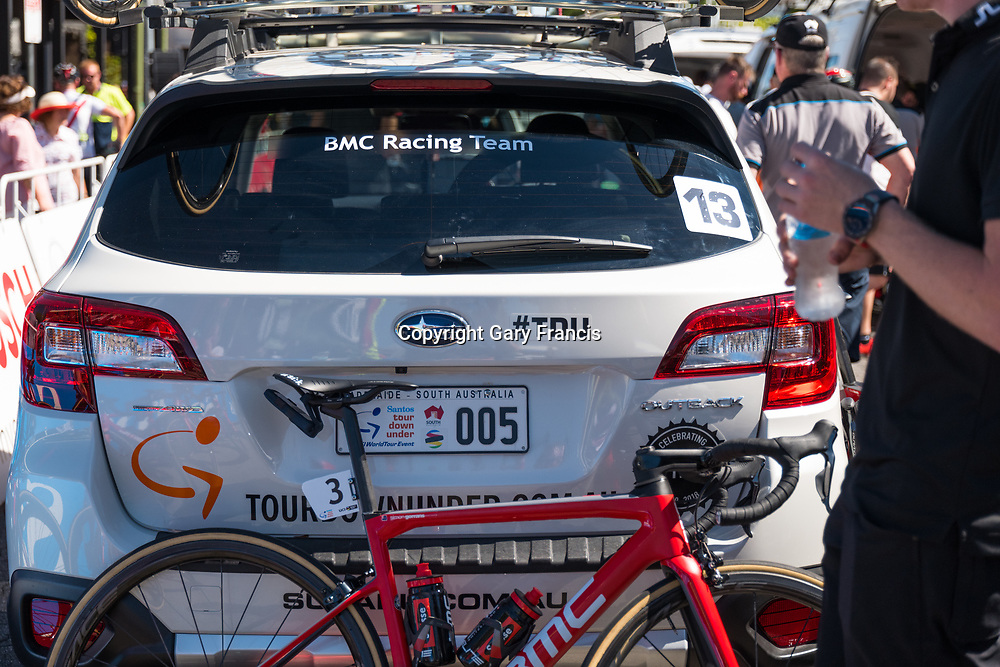 Simon Gerrans bike leading against the BMC team car at the start of Stage 2, Unley to Stirling, of the Tour Down Under, Australia on the 17 of January 2018 ( Credit Image: © Gary Francis / ZUMA WIRE SERVICE )