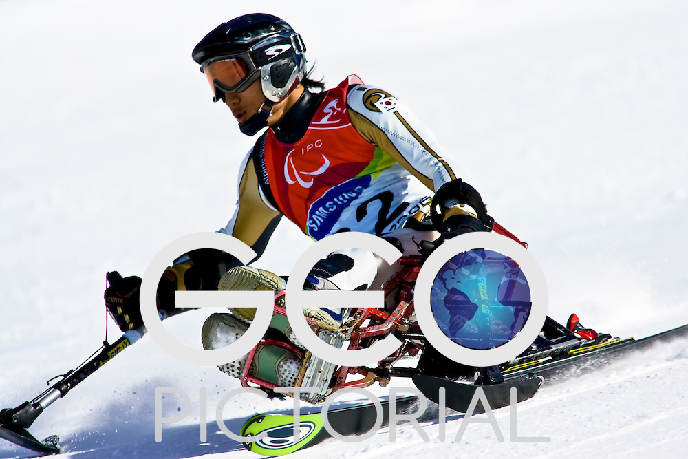 SESTRIERE COLLE, ITALY - MARCH 17th : Sang Min HAN of Korea in the Mens Alpine Skiing Giant Slalom Sitting competition on Day 7 of the 2006 Turin Winter Paralympic Games on March 17th, 2006 in Sestriere Borgata, Italy.