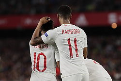 England's Raheem Sterling (L) and Marcus Rashford (R) celebrate goal during UEFA Nations League 2019 match between Spain and England at Benito Villamarin stadium in Sevilla, Spain. October 15, 2018. Photo by A. Perez Meca/Alterphotos/ABACAPRESS.COM