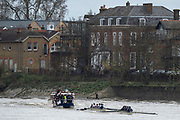 "London. United Kingdom,  Both crews on the ""Chiswick"" approaching the Brewery, during the 2017. Oxford University, Annual Trial Eights, raced over the Championship Course, Putney to Mortlake. River Thames, <br /> <br /> Wednesday  06/12/2017<br /> <br /> [Mandatory Credit:Peter SPURRIER Intersport Images]<br /> <br /> OUBC Crew Names. <br /> STABLE White Shirts.<br /> Bow. Jonathan Olandi<br /> 2. Charles Buchanan<br /> 3. Will Cahill<br /> 4. Alexander Wythe<br /> 5. William Geffen<br /> 6. Anders Weiss<br /> 7. Iain Mandale<br /> Stroke. Vassilis Ragoussis<br /> Cox. Zachary Thomas Johnson<br /> <br /> STRONG Black Shirts<br /> Bow. Luke Robinson<br /> 2. Angus Forbes<br /> 3. Nicholas Elkington<br /> 4. Benedict Aldous<br /> 5. Tobias Schroder<br /> 6. Joshua Bugajski<br /> 7. Claas Mertens<br /> Stroke. Felix Drinkall<br /> Cox. Anna Carbery"