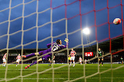 Stoke City forward Jonathan Walters  scores past Doncaster Rovers goalkeeper Thorsten Stuckmann  during the The FA Cup third round match between Doncaster Rovers and Stoke City at the Keepmoat Stadium, Doncaster, England on 9 January 2016. Photo by Simon Davies.