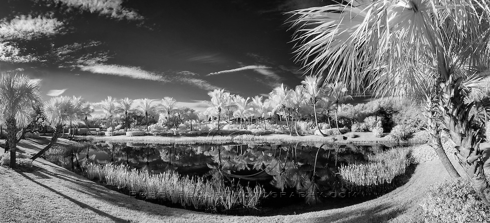 Infrared photo tropical Bermuda Bay panorama