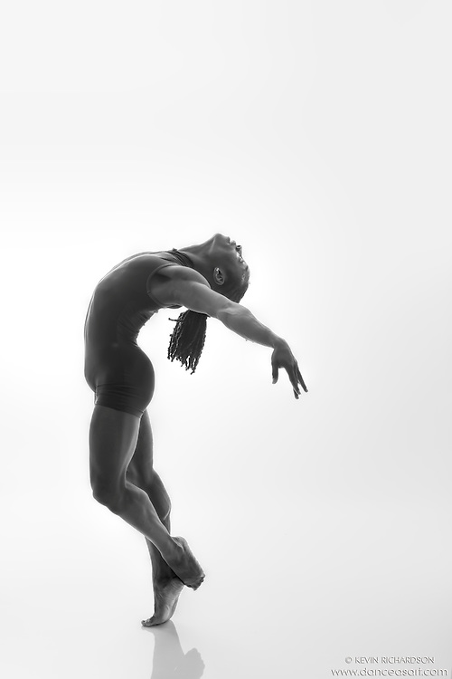 Black and white dance photography- Back- Dance As Art Studio Series with dancer Kevin Mimms
