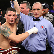 """Orlando Cruz, (green trunks) celebrates his victory after defeating Jorge Pazos at the Kissimmee Civic Center in Kissimmee, Florida, on Friday, October 19, 2012. The Puerto Rican Cruz recently described himself as """"a proud gay man"""" and the first active boxer having pronounced so, in boxing history. Cruz won the fight via 12 round decision. (AP Photo/Alex Menendez)"""
