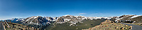 Panorama from Trail Ridge Road. Rocky Mountain National Park. Composite of five images taken with a Nikon D200 camera and 14 mm f/2.8 lens (ISO 100, 14 mm, f/11, 1/250 sec).