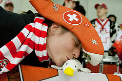 Fans of Switzerland during friendly ice-hockey match between Slovenia and Switzerland, on December 14, 2011 at Hala Tivoli, Ljubljana, Slovenia. (Photo By Matic Klansek Velej / Sportida)
