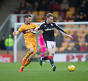 Dundee's Kevin Holt and Motherwell's Carl McHugh - Motherwell v Dundee in the Ladbrokes Scottish Premiership at Fir Park, Motherwell.Photo: David Young<br /> <br />  - © David Young - www.davidyoungphoto.co.uk - email: davidyoungphoto@gmail.com