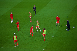 CARDIFF, WALES - Thursday, September 6, 2018: Wales players during the pre-match warm-up before the UEFA Nations League Group Stage League B Group 4 match between Wales and Republic of Ireland at the Cardiff City Stadium. (Pic by Laura Malkin/Propaganda)