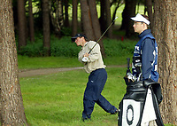 Photograph: Scott Heavey<br />Volvo PGA Championship At Wentworth Club. 23/05/2003.<br />Henrik Bjørnstad chips from the rough on the 13th.