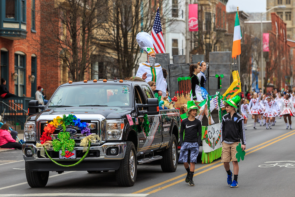 York, PA / USA - March 12, 2016: A decorated float carrying children in the annual Saint Patrick's Day Parade.