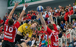 16.05.2016, Sporthalle am See, Hard, AUT, HLA Halbfinale, Alpla HC Hard vs Bregenz Handball, im Bild v.l. Frederic Wuestner, (Alpha HC Hard #10), Amadeus Hedin, (Bregenz Handball #05) und Marko Tanaskovic, (Alpha HC Hard #13)// Handball League Austria semifinal Match between Alpla HC Hard and Bregenz Handball at the Handball Sporthalle am See, Hard, Austria on 2015/05/16. EXPA Pictures © 2016, PhotoCredit: EXPA/ Peter Rinderer