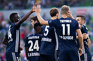 MELBOURNE, AUSTRALIA - APRIL 14: Victory players celebrate the opening goal during round 25 of the Hyundai A-League match between Melbourne Victory and Central Coast Mariners on April 14, 2019 at AAMI Park in Melbourne, Australia. (Photo by Speed Media/Icon Sportswire)