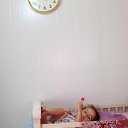 Dievčatko v utečeneckom tábore v meste Erbil v Iraku.