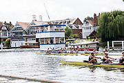 Henley on Thames, England, United Kingdom, 7th July 2019, Henley Royal Regatta, Finals Day, The Thames Challenge Cup, Roeivereeniging Studenten Vreie Universiteit Okeanos, Netherlands, start their celebratings after crossing the line ahead of  Thames Rowing Club A, Henley Reach, [© Peter SPURRIER/Intersport Image]<br /><br />16:07:09 1919 - 2019, Royal Henley Peace Regatta Centenary,