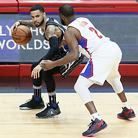 11 January 2017: LA Clippers guard Raymond Felton (2) defends on Orlando Magic guard D.J. Augustin (14) during the LA Clippers 105-96 victory over the Orlando Magic, at the Staples Center, Los Angeles, California, USA.