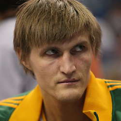 Feb 17, 2010; New Orleans, LA, USA; Utah Jazz forward Andrei Kirilenko (47) sits on the bench during the first quarter against the New Orleans Hornets at the New Orleans Arena. Mandatory Credit: Derick E. Hingle-US PRESSWIRE