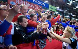 Maja Zrnec of Krim with fans of Krim at handball match of Round 5 of Champions League between RK Krim Mercator and Metz Handball, France, on January 9, 2010 in Kodeljevo, Ljubljana, Slovenia. (Photo by Vid Ponikvar / Sportida)