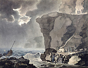 The Cadoudal Plot to assassinate Napoleon I: The Royalist conspirators disembarking on the cliffs at Biville, near Dieppe, 16  Jan 1804.  Plot failed.   Prince de Polignac imprisoned until 1814 for involvement.  France Watercolour