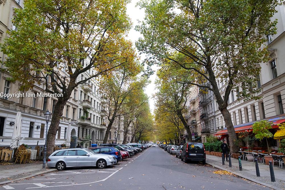 Husemannstrasse in upmarket Prenzlauer Berg in Berlin Germany