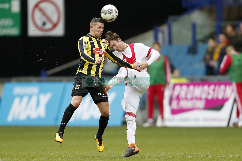 (L-R) Bryan Linssen of Vitesse, Nico Tagliafico of Ajax during the Dutch Eredivisie match between Vitesse Arnhem and Ajax Amsterdam at Gelredome on March 04, 2018 in Arnhem, The Netherlands