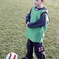 Moneypoint's Ross Phelan can't wait for his turn during a soccer blitz at Lees Road on Saturday morning.<br /> <br /> Photograph by Yvonne Vaughan.