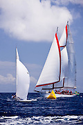 Iris J and Atrevida sailing in the Old Road Race at the 2011 Antigua Classic Yacht Regatta.