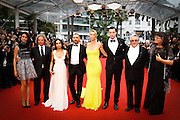 DOUG MITCHELL, ZOE KRAVITZ, TOM HARDY, CHARLIZE THERON, NICHOLAS HOULT, GEORGE MILLER  - 68th CANNES FILM  FESTIVAL RED CARPET FOR THE  FILM 'MAD MAX: FURY ROAD'<br /> ©Exclusivepix Media