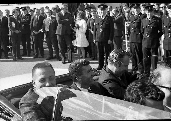 American Astronauts visit Dublin.<br /> 1970.<br /> 13.10.1970.<br /> 10.13.1970.<br /> 13th October 1970.<br /> The Astronauts of the Apollo 13 moon mission visited Ireland as part of a European tour. James Lovell, John Swigert and Fred Haise were on a planned landing on the lunar surface ,when two day after blast off on 11 April 1970 an explosion aboard the craft resulted in one of the most amazing missions in the Apollo series. The explosion placed the crew in severe danger and it was only through much skill and courage that the astronauts managed to make emergency repairs to enable them to return home. Up until they returned on 17th April the world held its breath as the astronauts fought their way back to Earth.<br /> <br /> Image of astronauts, Haise, Lovell and Swigert setting off on the motorcade to Dublin City.