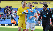 Joe Hart embraces Kevin De Bruyne after the Barclays Premier League match between Crystal Palace and Manchester City at Selhurst Park, London, England on 12 September 2015. Photo by Michael Hulf.