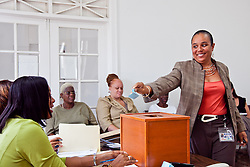 Rochelle Corneiro draws #15 for Sean Michael Malone for Office of Senate, St. Thomas/ St. John.  Casting of Lots for the Primary Election of September 8, 2012.  Election Sytem of the Virgin Islands.  21 August 2012.  © Aisha-Zakiya Boyd