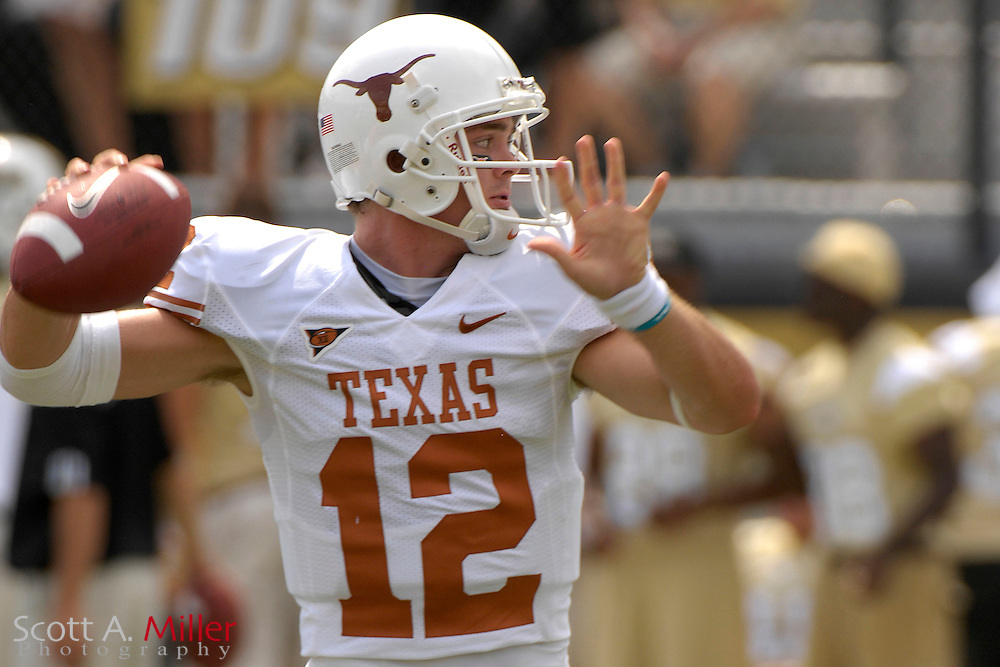Sep 15, 2007; Orlando, FL, USA; Texas Longhorns quarterback (12) Colt McCoy in action against the Central Florida Knights at Bright House Stadium. ...©2007 Scott A. Miller