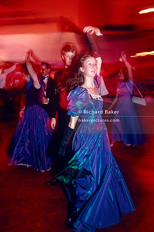 Young dancing tories at the annual Party Conference of 1993 at Blackpool during premiership of Prime Minister John Major
