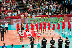 10.09.2014, Centennial Hall, Breslau, POL, FIVB WM, Kuba vs Kanada, 2. Runde, Gruppe F, im Bild Kanada prezentacja hymn // Canada presentation anthem during the FIVB Volleyball Men's World Championships 2nd Round Pool F Match beween Cuba and Canada at the Centennial Hall in Breslau, Poland on 2014/09/10. EXPA Pictures © 2014, PhotoCredit: EXPA/ Newspix/ Sebastian Borowski<br /> <br /> *****ATTENTION - for AUT, SLO, CRO, SRB, BIH, MAZ, TUR, SUI, SWE only*****