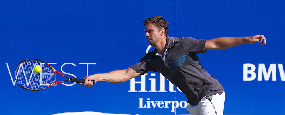 LIVERPOOL, ENGLAND - Friday, June 21, 2013: Jan-Michael Gambill (USA) during Day Two of the Liverpool Hope University International Tennis Tournament at Calderstones Park. (Pic by David Rawcliffe/Propaganda)