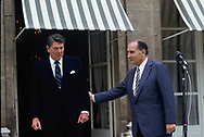 French President Francois Mitterrand and President Ronald Reagan.in Paris on June 3, 1982<br /> <br /> Photo by Dennis Brack