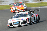 #23 Mark Patterson/Matt Bell - United Autosports, Audi R8 LMS ultra during British GT Championship race two at Oulton Park, Little Budworth, Cheshire, United Kingdom. April 21 2014. World Copyright Peter Taylor/PSP. Copy of publication required for printed pictures.  Every used picture is fee-liable. http://archive.petertaylor-photographic.co.uk
