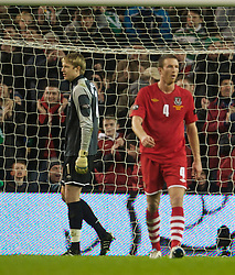 DUBLIN, IRELAND - Tuesday, February 8, 2011: Wales' goalkeeper Wayne Hennessey looks dejected after the Republic of Ireland's second goal during the opening Carling Nations Cup match at the Aviva Stadium (Lansdowne Road). (Photo by David Rawcliffe/Propaganda)