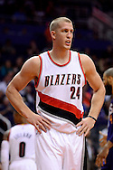 Nov 2, 2016; Phoenix, AZ, USA; Portland Trail Blazers forward Mason Plumlee (24) reacts on the court during the first half of the NBA game against the Phoenix Suns at Talking Stick Resort Arena. The Suns defeated the Trail Blazers 118-115 in overtime. Mandatory Credit: Jennifer Stewart-USA TODAY Sports