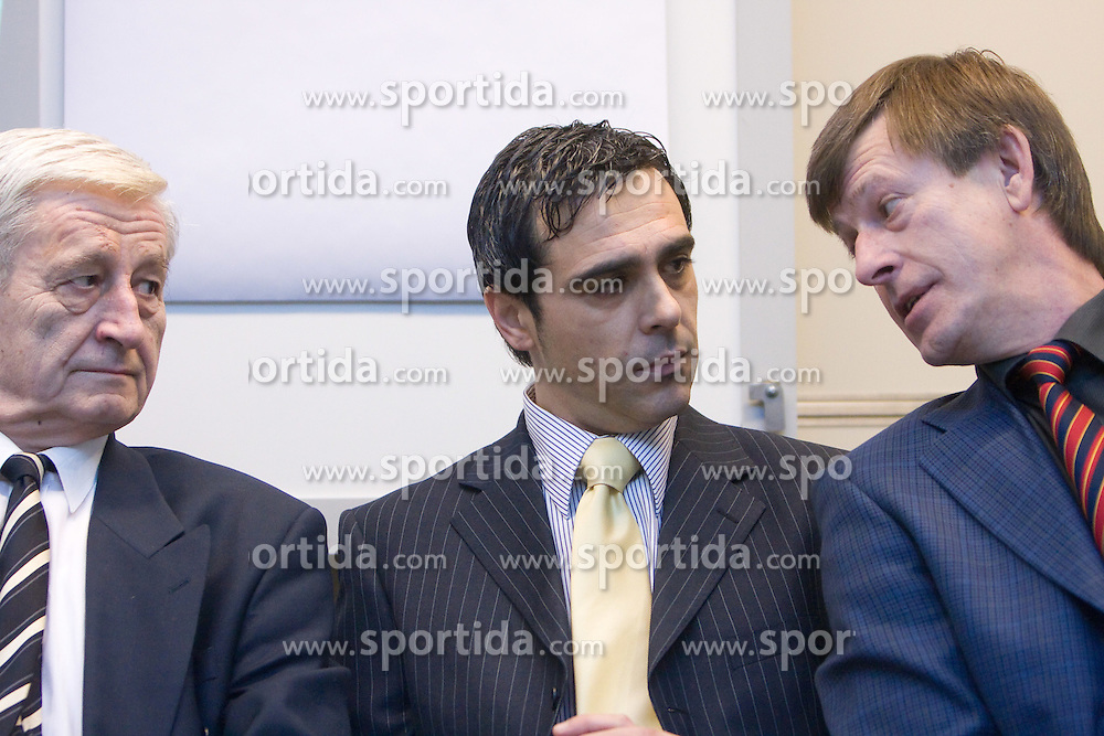 Dr. Rudi Turk, Damir Ban and Danilo Kacijan when supporting T. Frajman, candidate for the president of Slovenian football federation at press conference,  on January 23, 2009, in Ljubljana, Slovenia.  (Photo by Vid Ponikvar / Sportida)