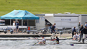 2008 National Schools Regatta, Holme Pierrepont, Nottingham, Great Britain, ENGLAND, Double scull in difficult conditions, trying to get into the docking area,  Saturday,  24/05/2008.  [Mandatory Credit:  Peter Spurrier/Intersport Images]